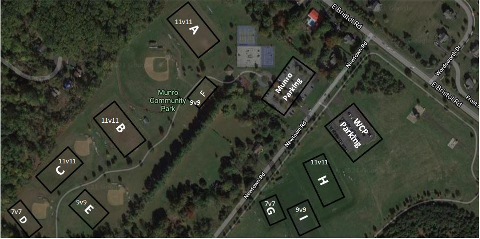 Munro Park and Warminster Community Park (WCP) 2021 Fields Map